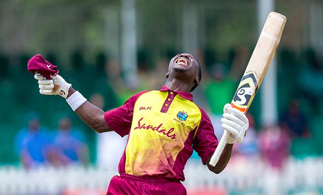 Which player scored the first century in Global T20 Canada?